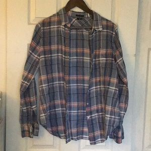 Theory large button down shirt plaid